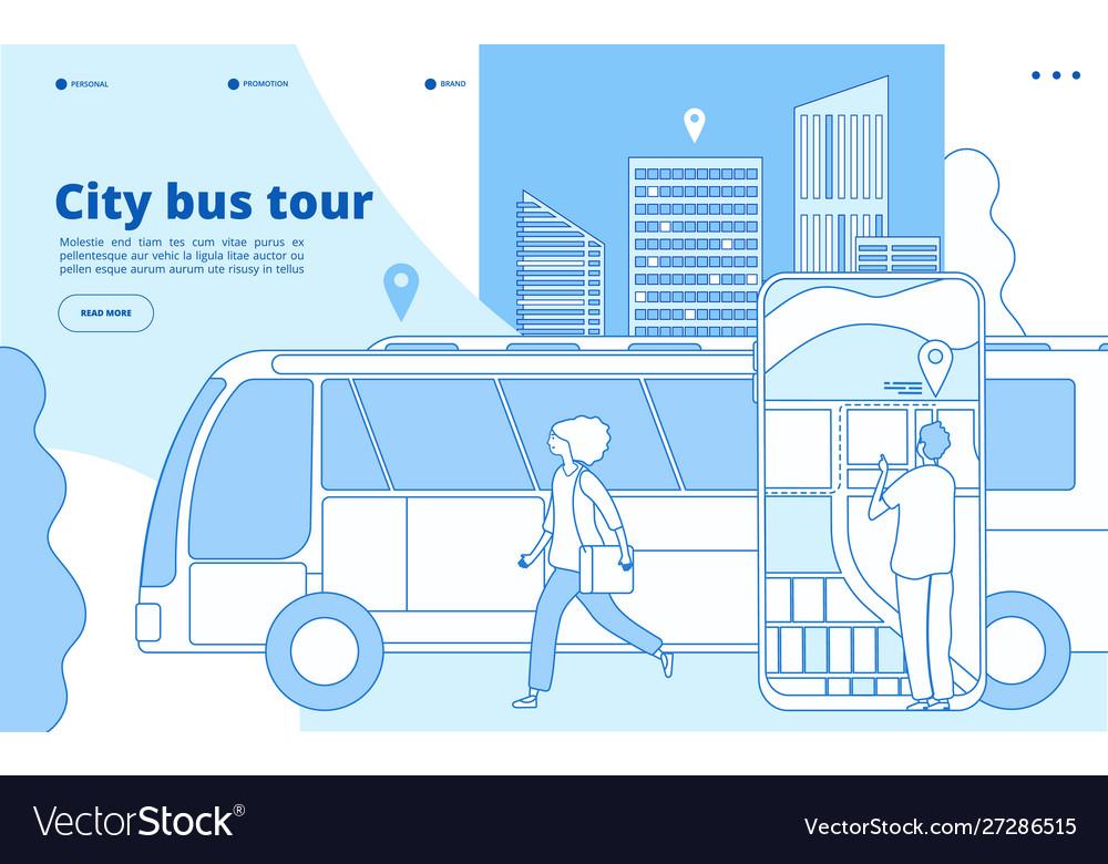 City bus tour urban bus excursion tourists with