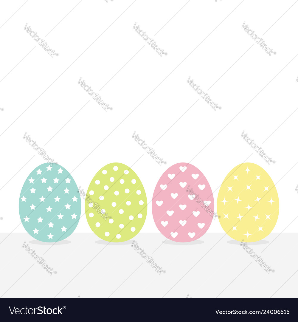 Colorful painting easter egg set row of painted