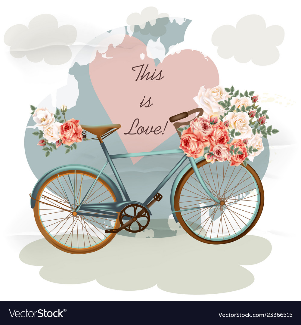 Cute invitation with yellow bicycle and flowers