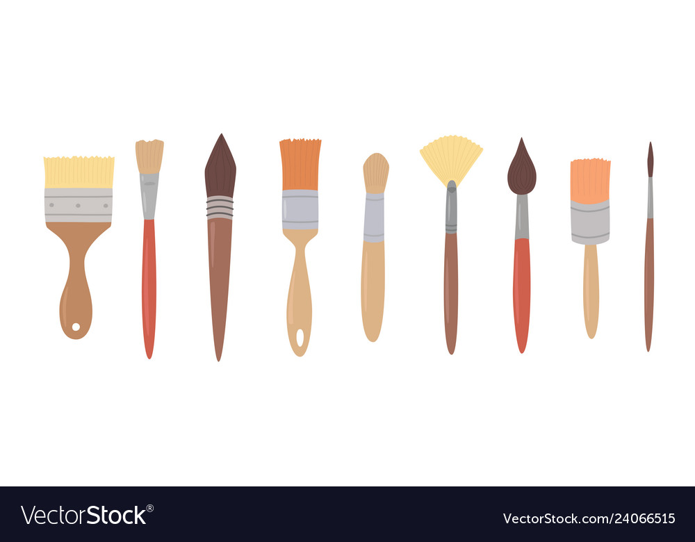Drawing tools set paint brushes in row on white