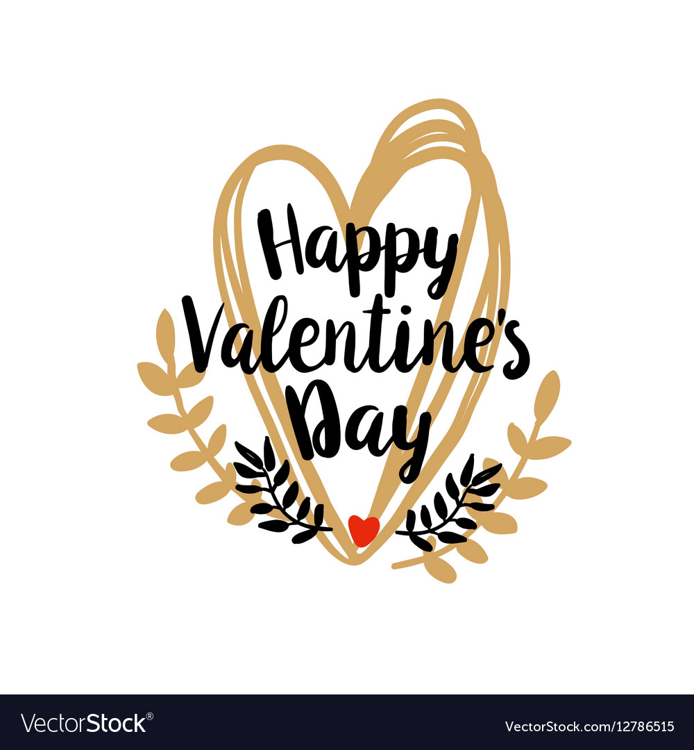 Happy Valentines Day on doodle heart vector image