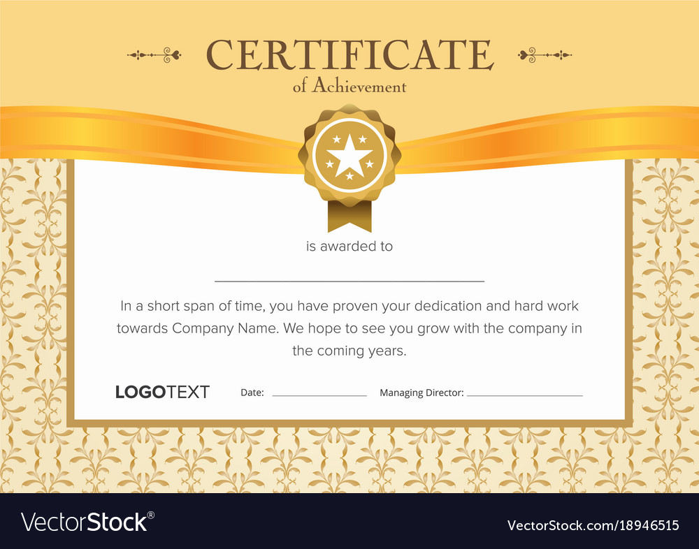 Luxury Begie And Gold Certificate Royalty Free Vector Image