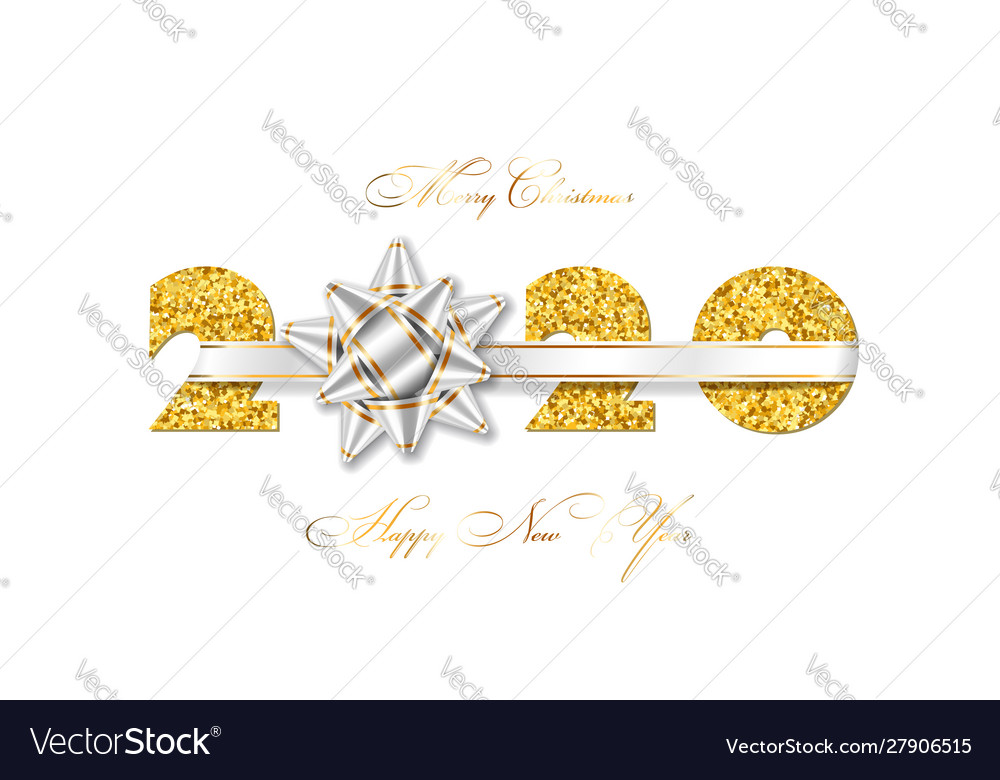 Merry christmas card 3d gift ribbon bow gold