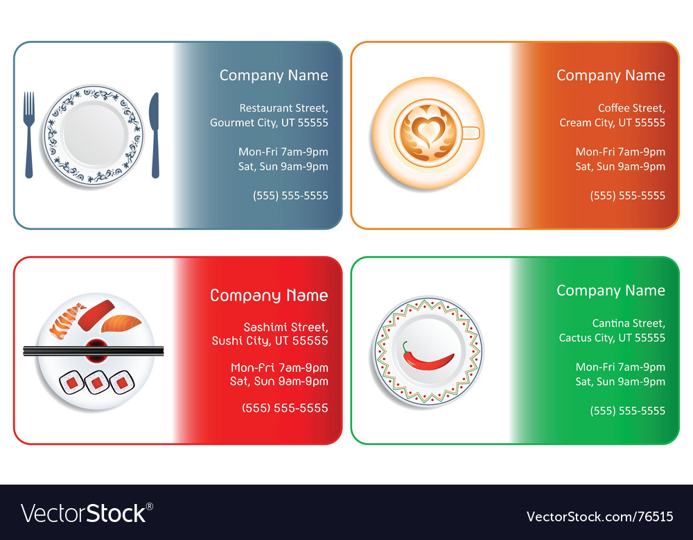 restaurant business cards vector image - Restaurant Business Card