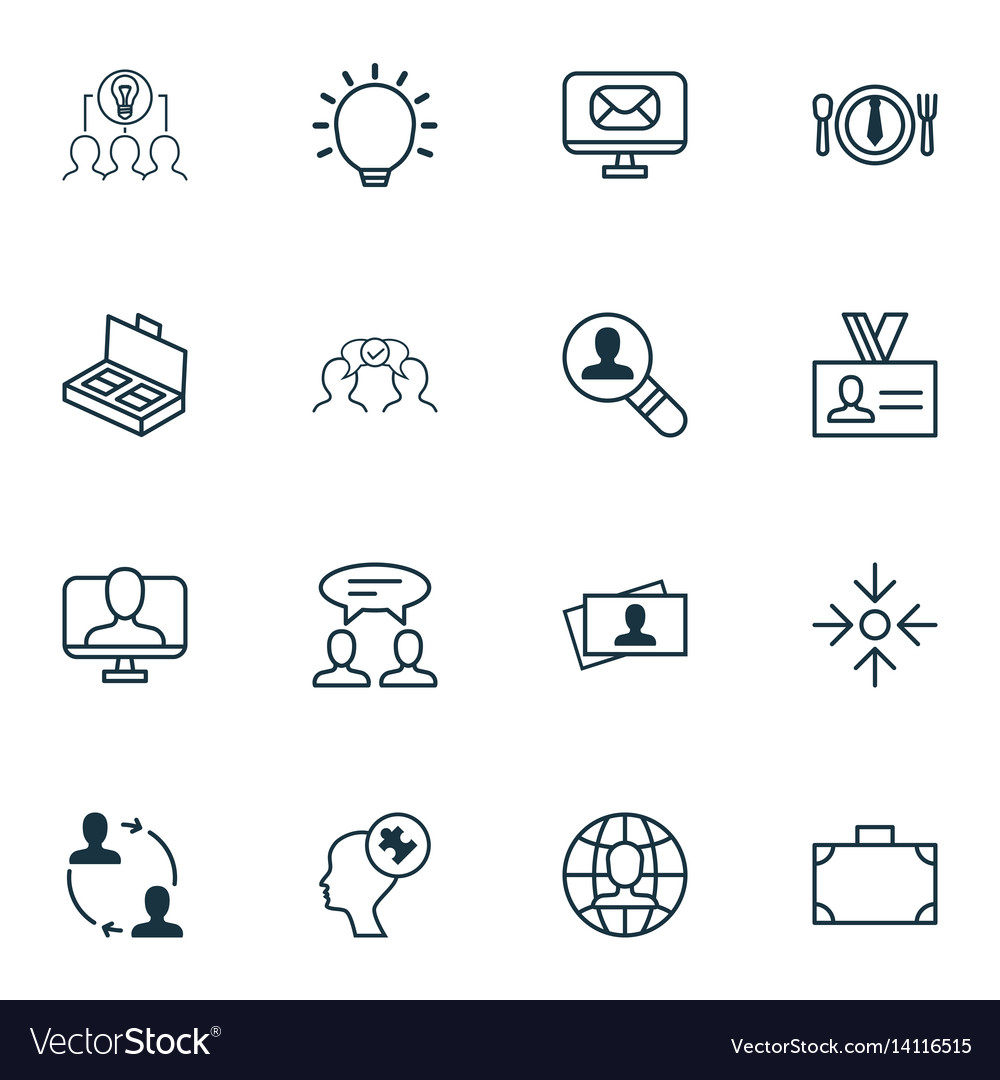 Set of 16 business management icons includes