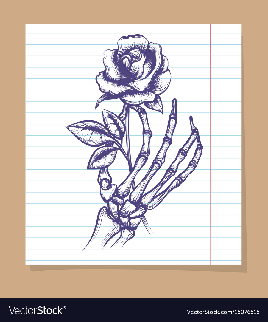 Skeleton Arm Sketch With Rose Royalty Free Vector Image