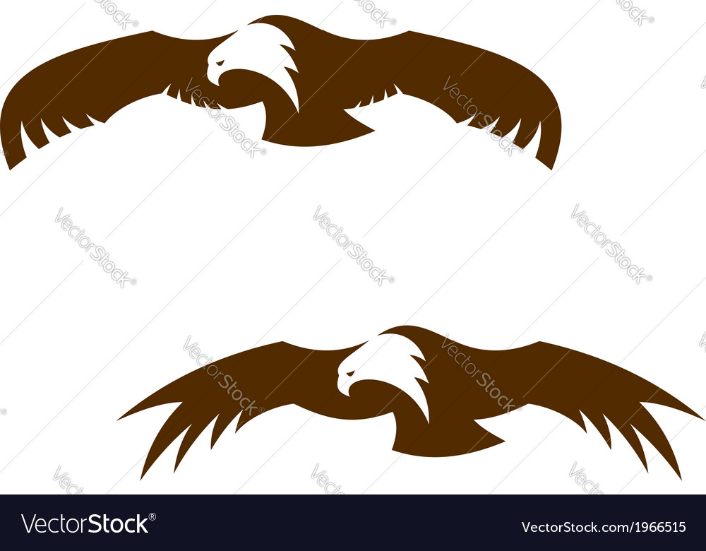 Two flying eagles with outspread wings