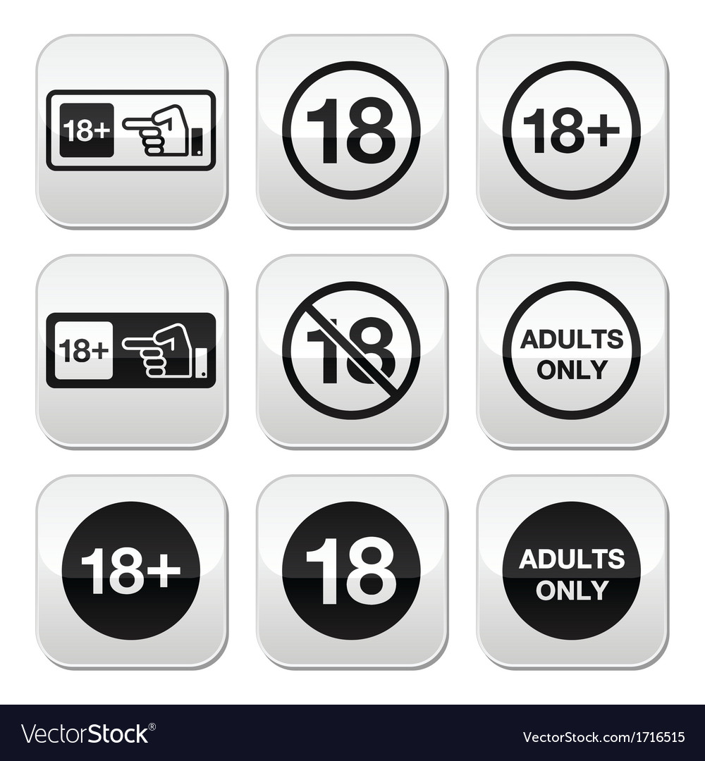 Under 18 adults only warning sign buttons