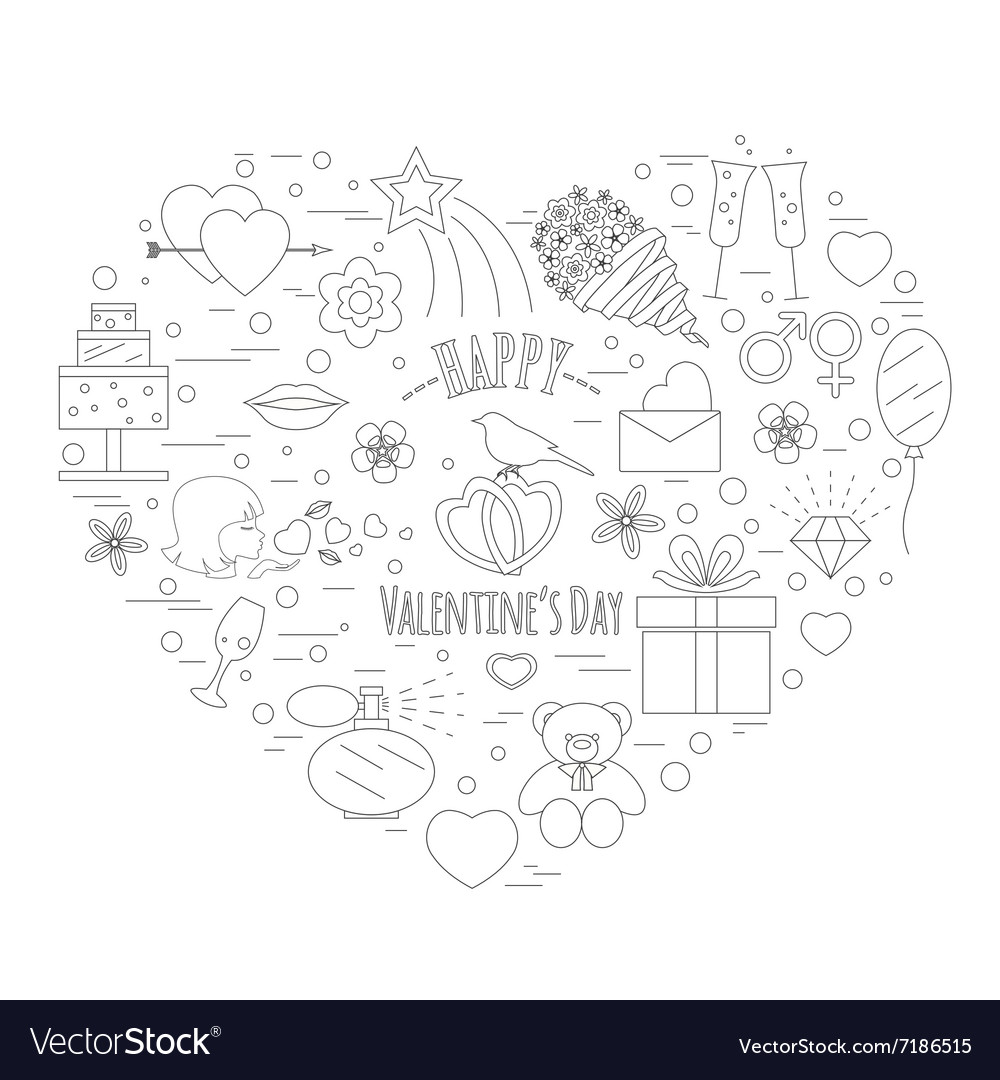 Valentines day design template Graphic elements