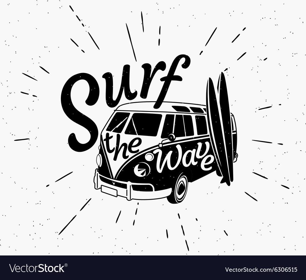 Van surf retro black and white
