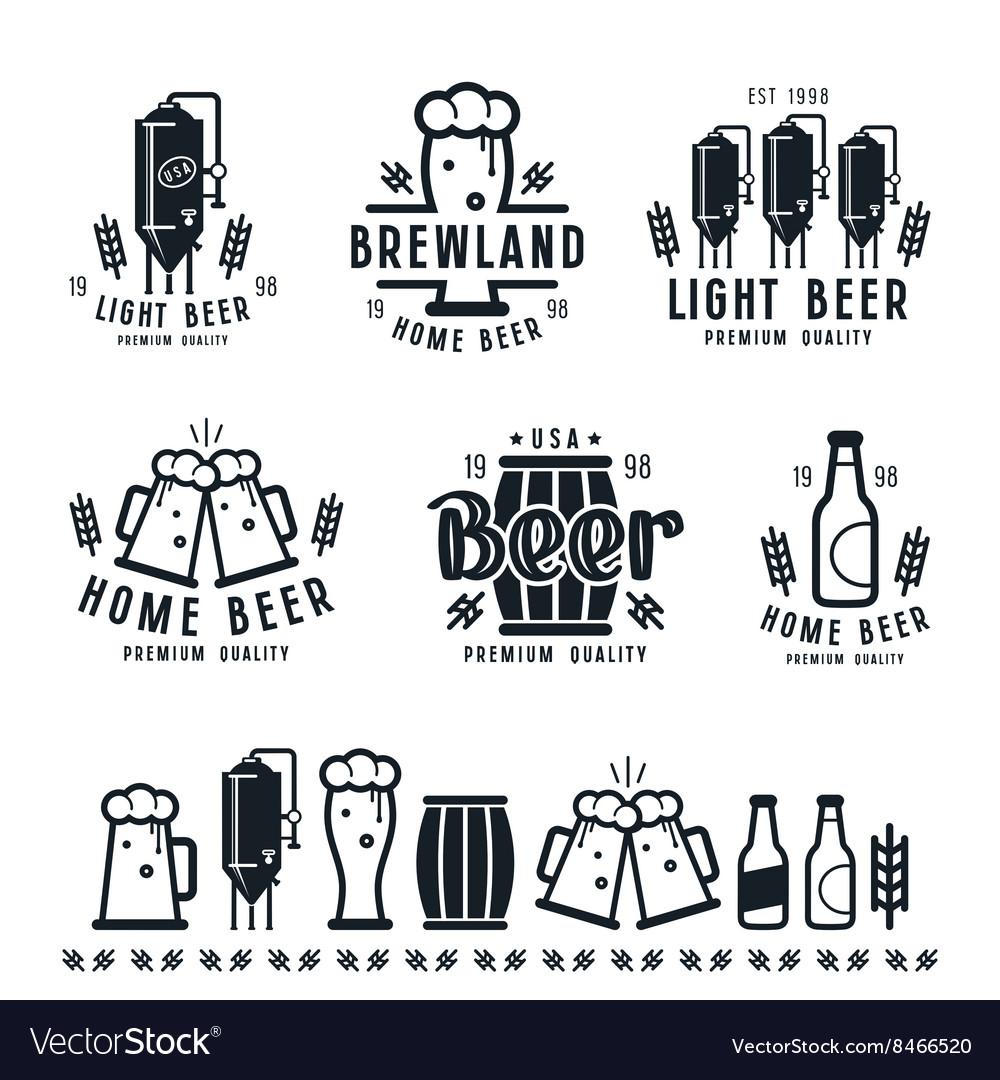 Craft beer brewery emblems barley