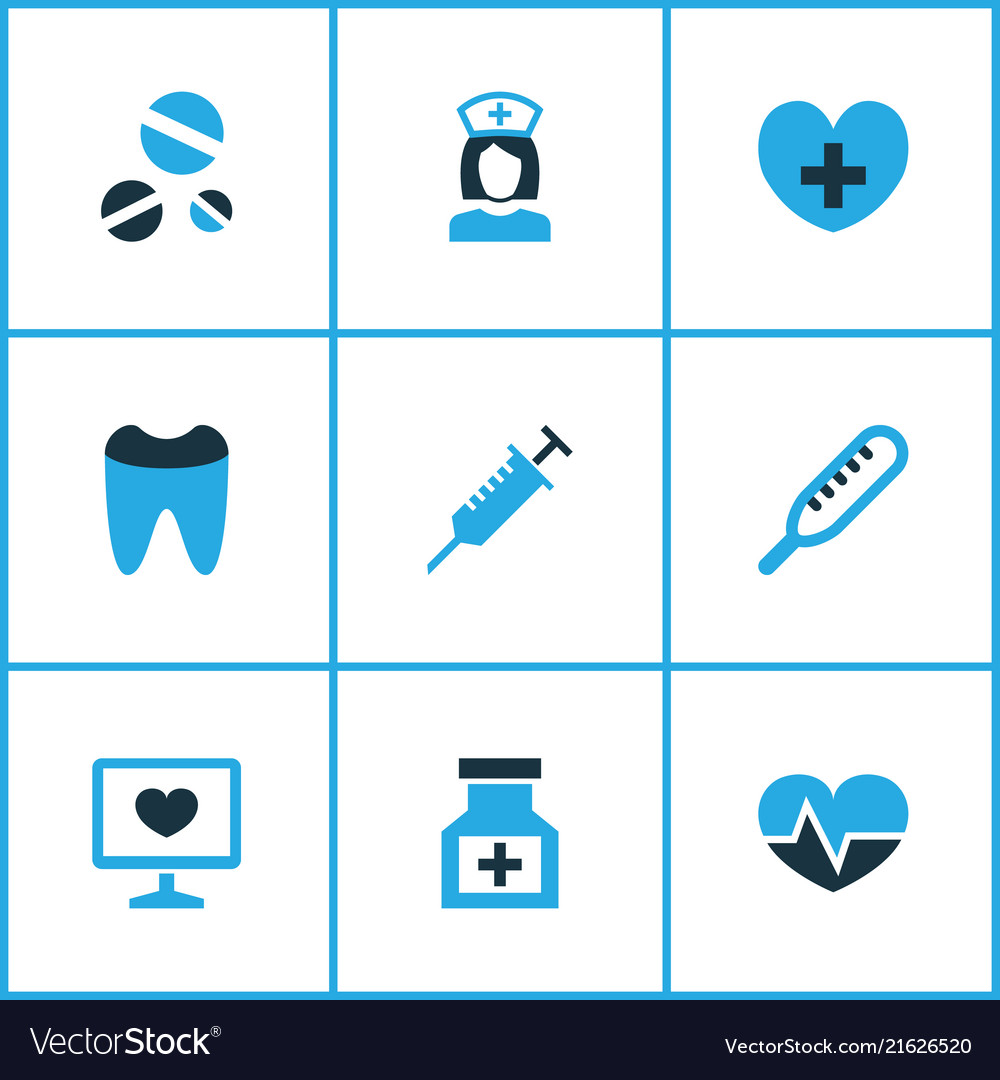 Drug icons colored set with pulse tooth remedy