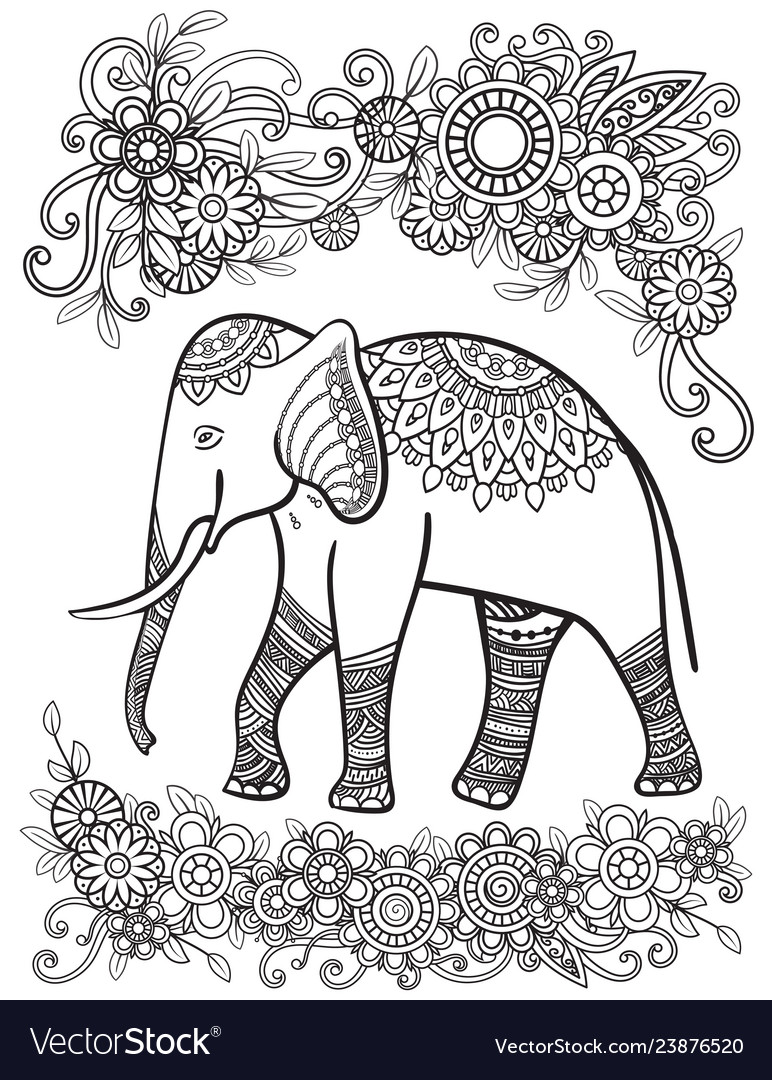 Ehtnic elephant coloring page