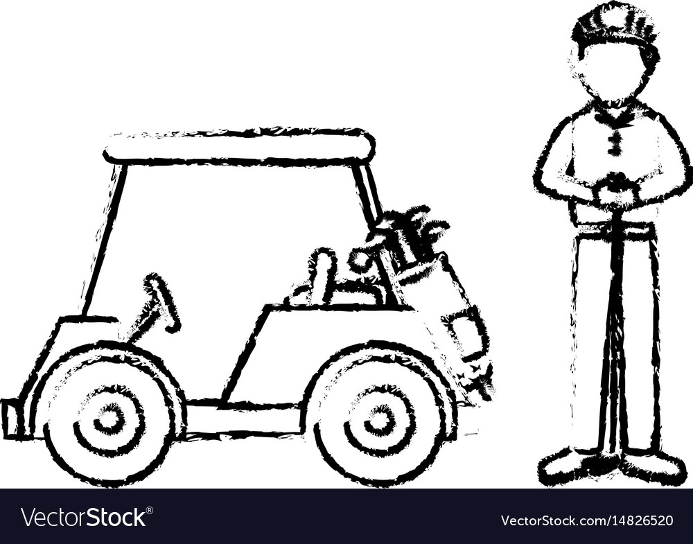 Golf car with driver isolated icon