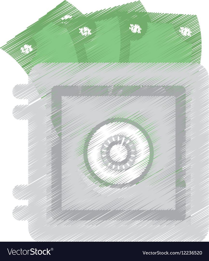 Hand draw save box money cash bills color