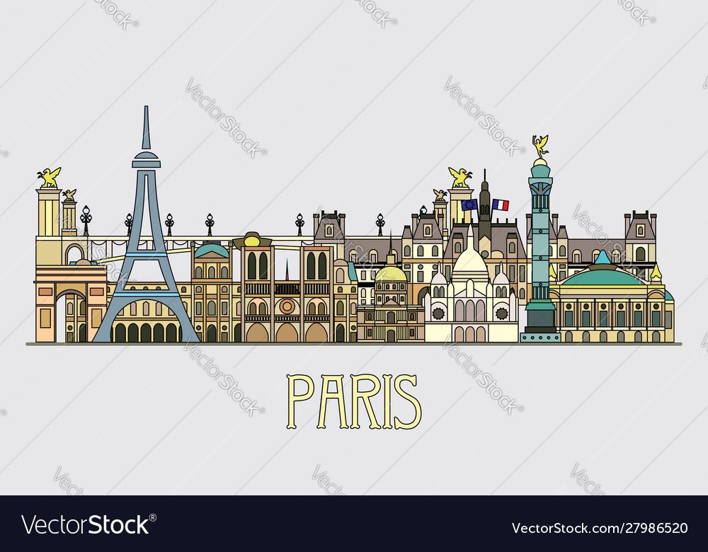Paris colorful line art 6