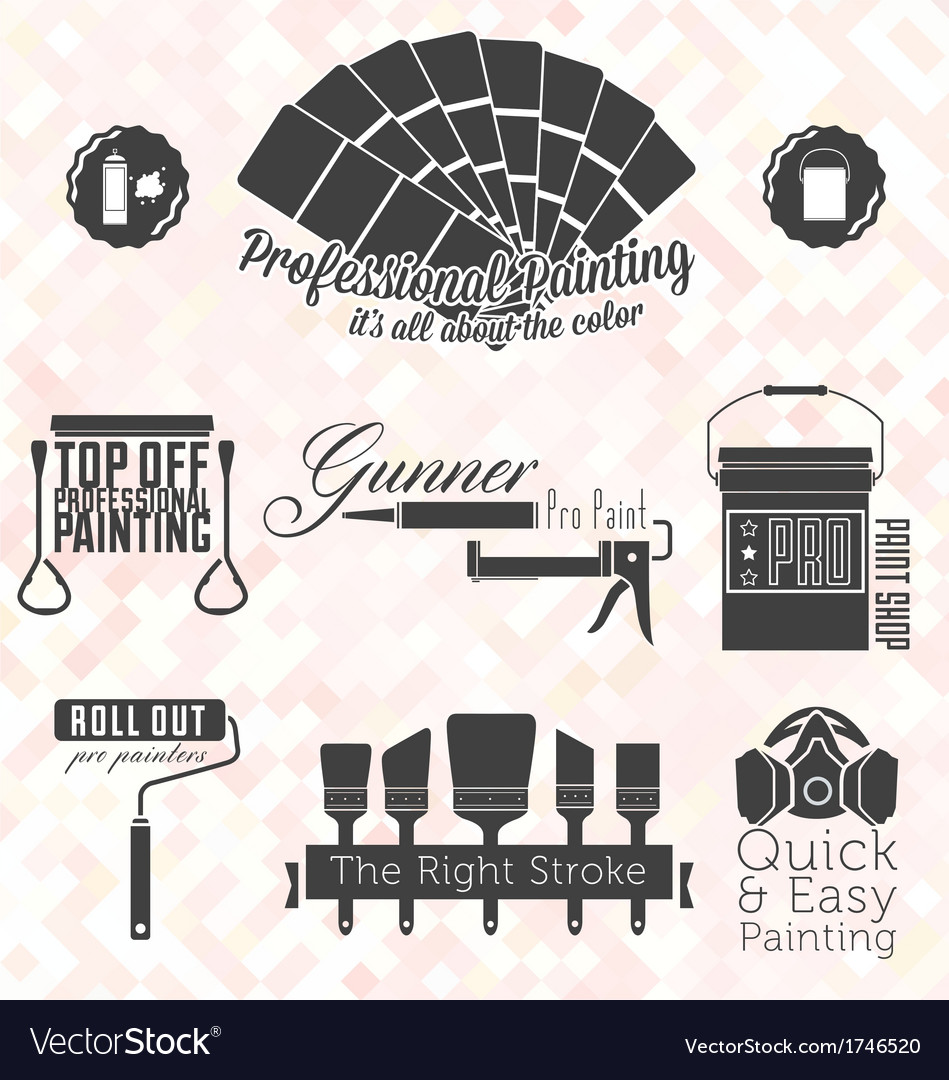 Retro Painting Service Labels and Icons