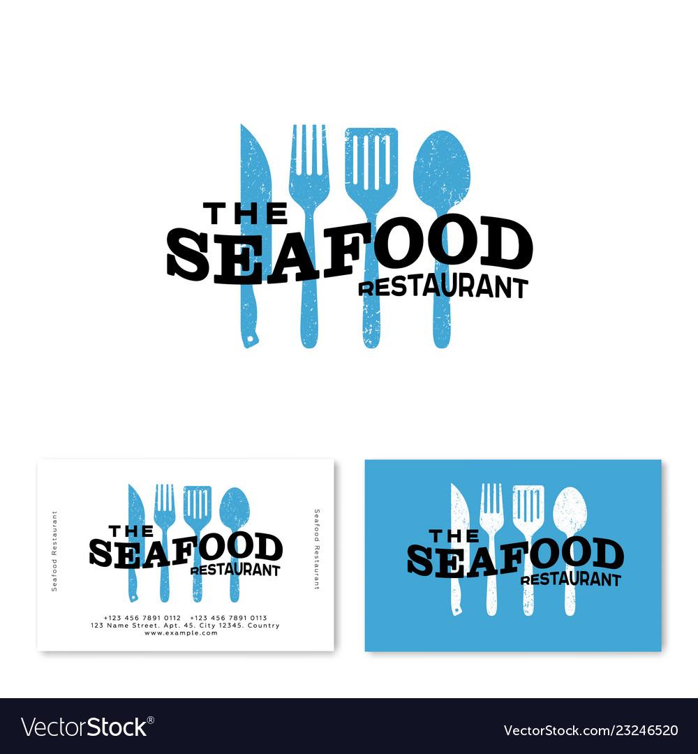 Seafood restaurant logo utensils ...