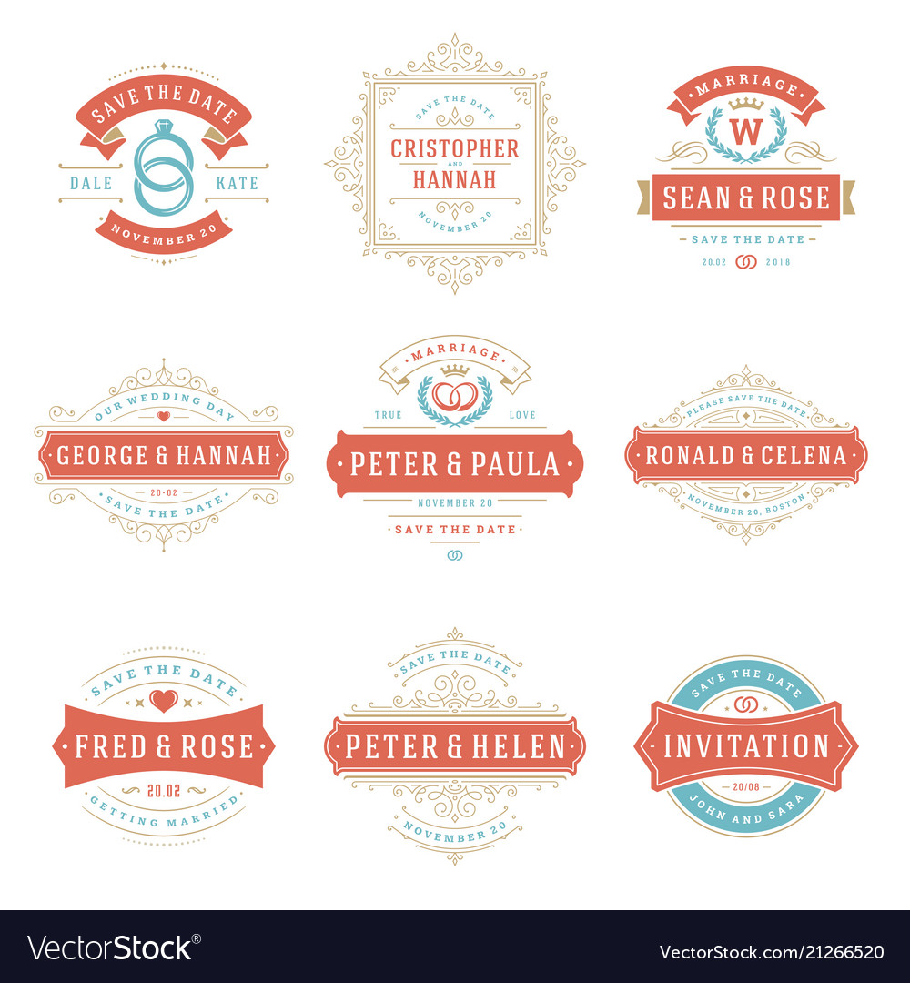Wedding labels and badges and design