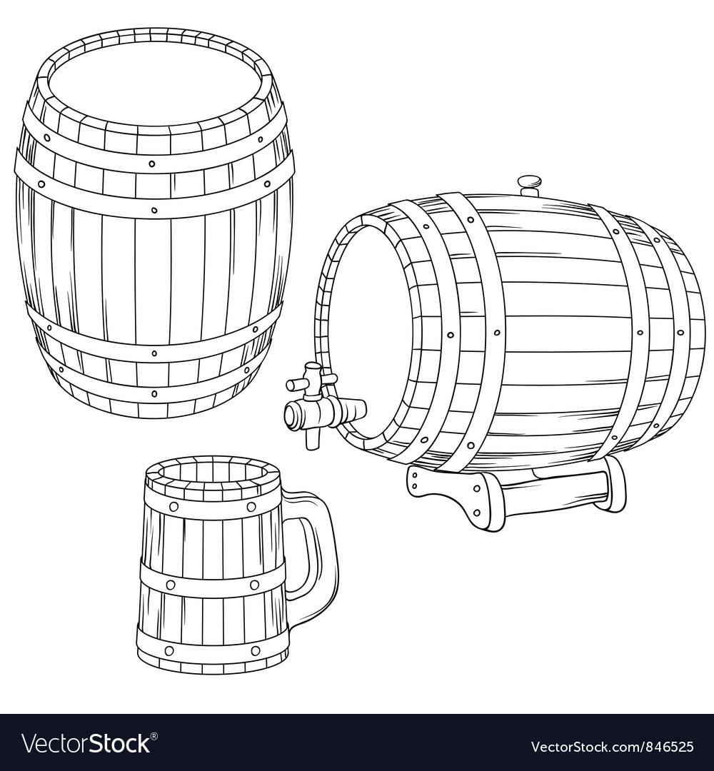A barrel mug isolated on white vector image