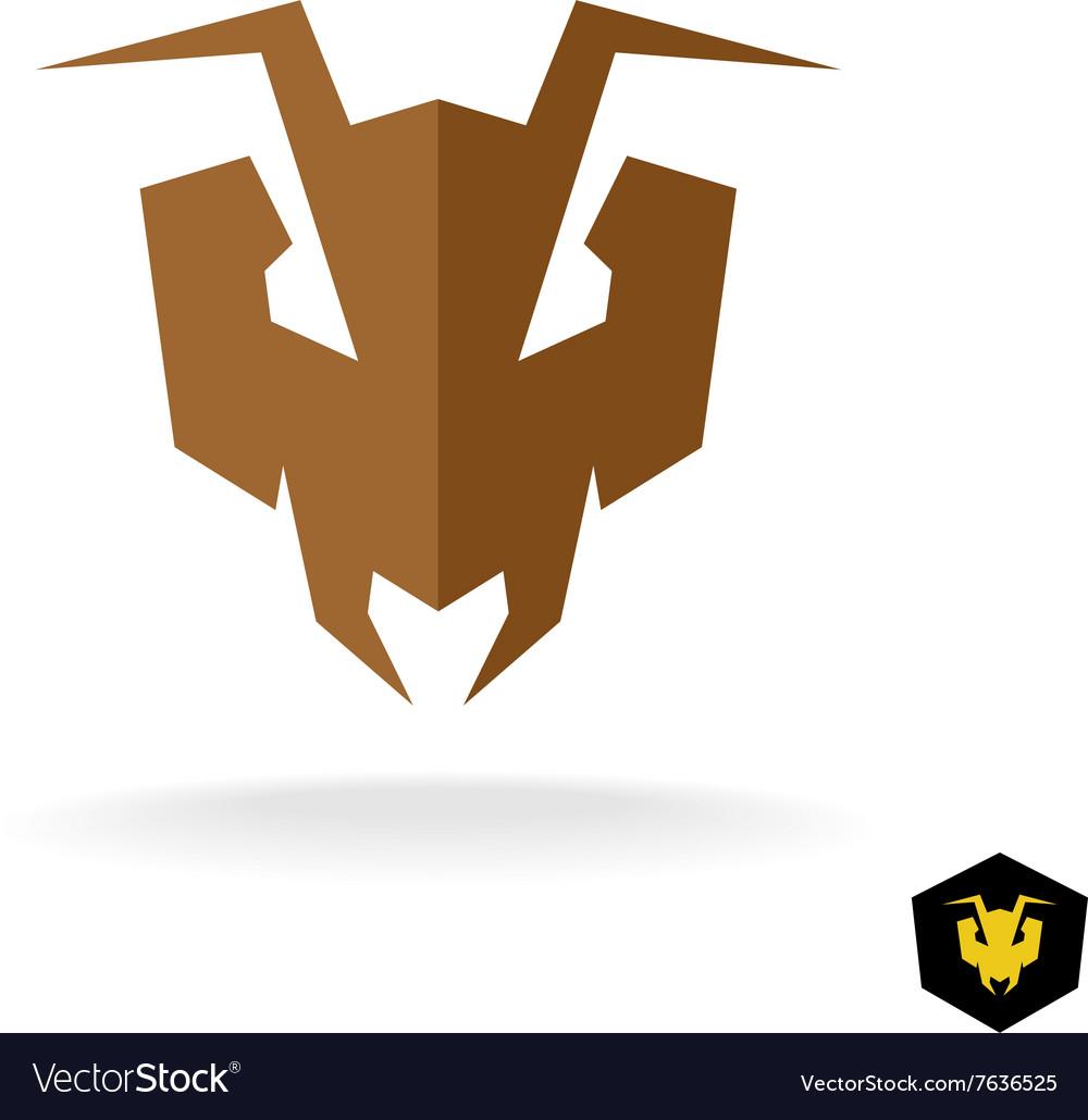 Ant head logo Serious face of the predator bulldog