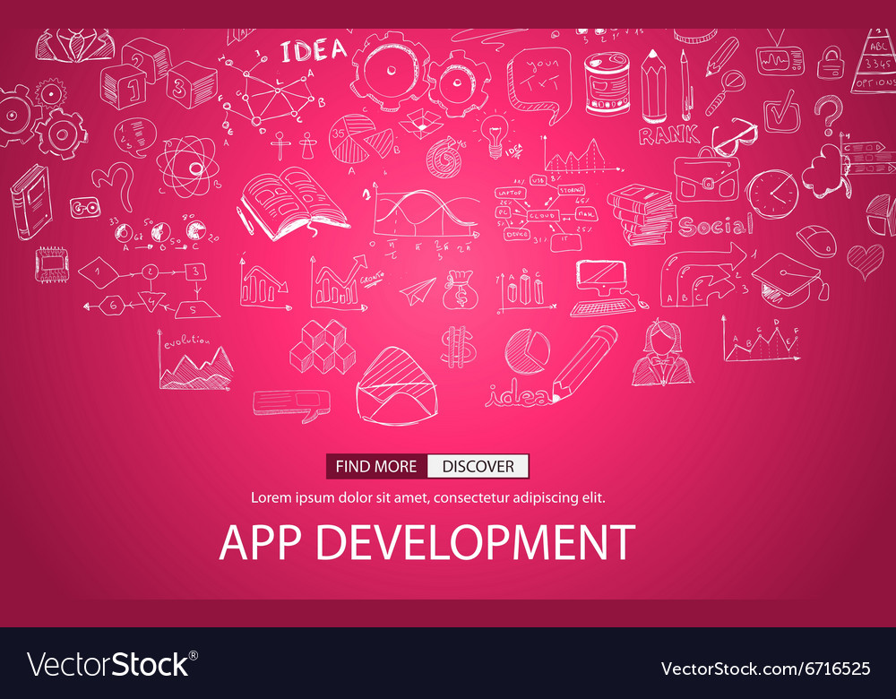 App Development Concept with Doodle design style vector image