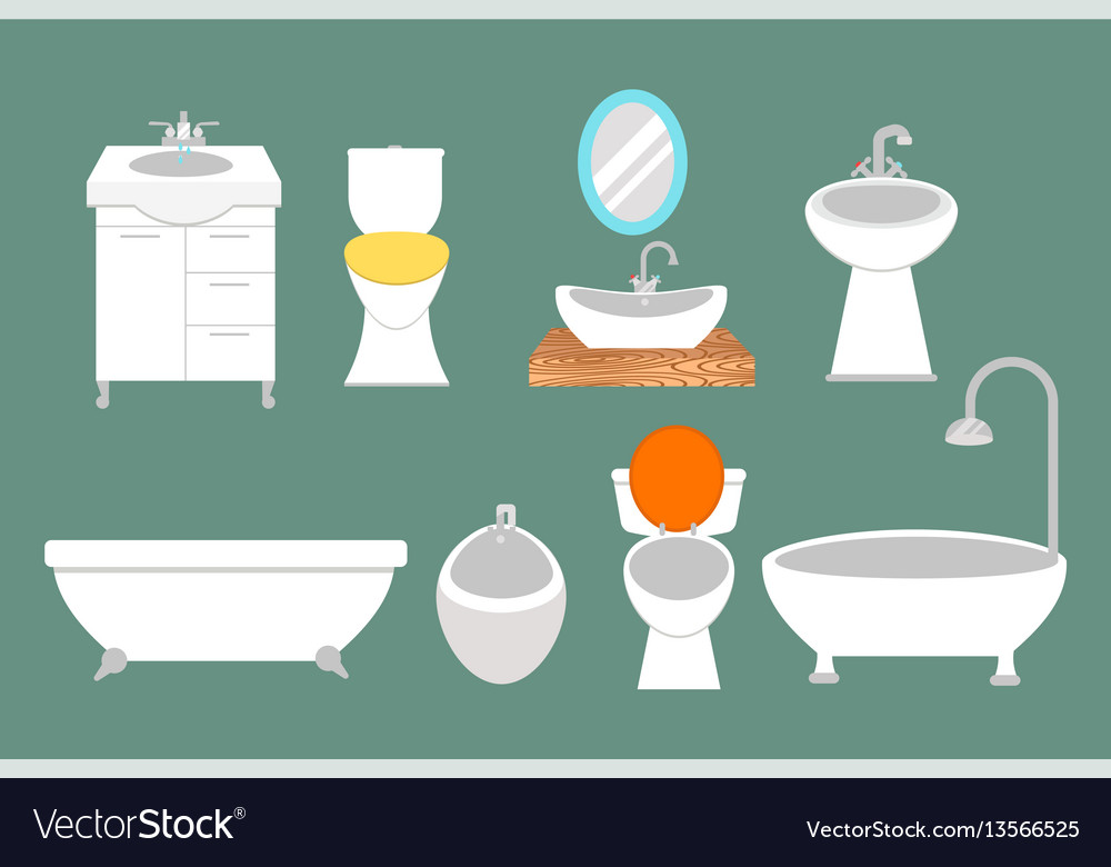 Bathroom icons colored set with process water