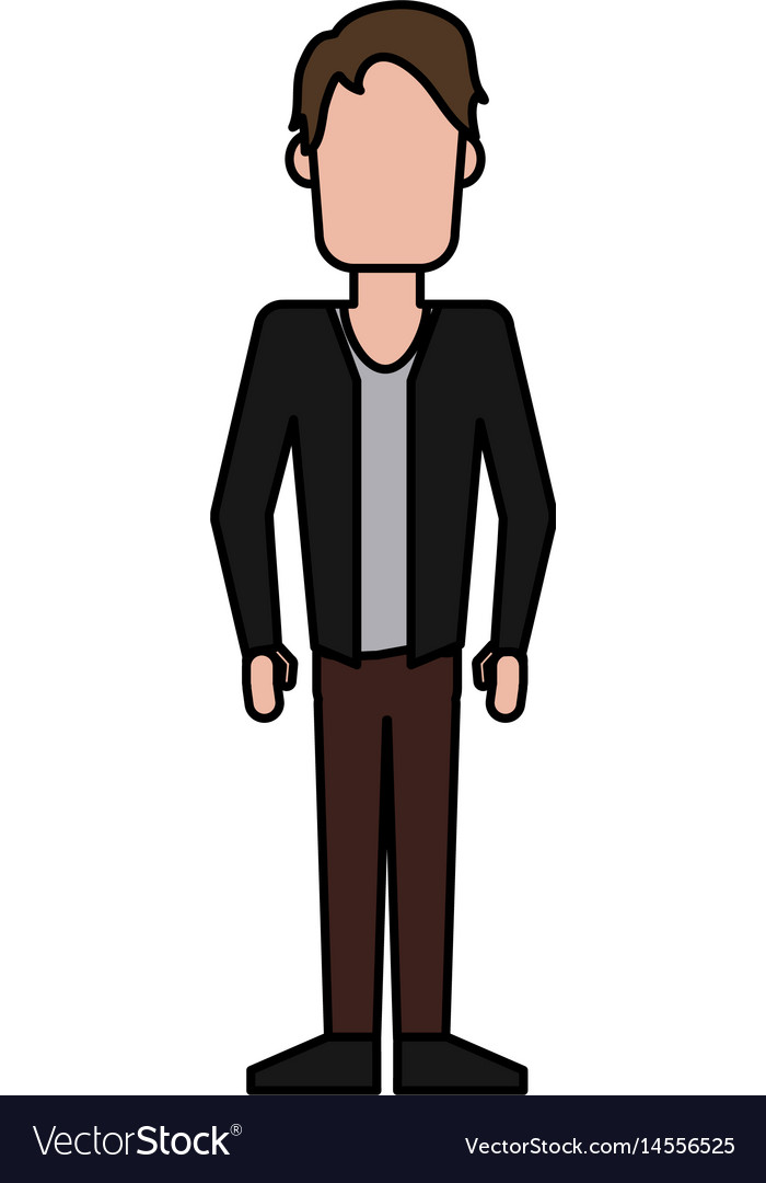 Colorful caricature image faceless man with jacket vector image