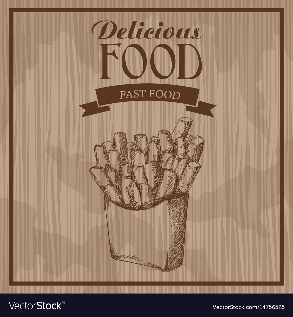 Delicious food french fries fast food hand drawn