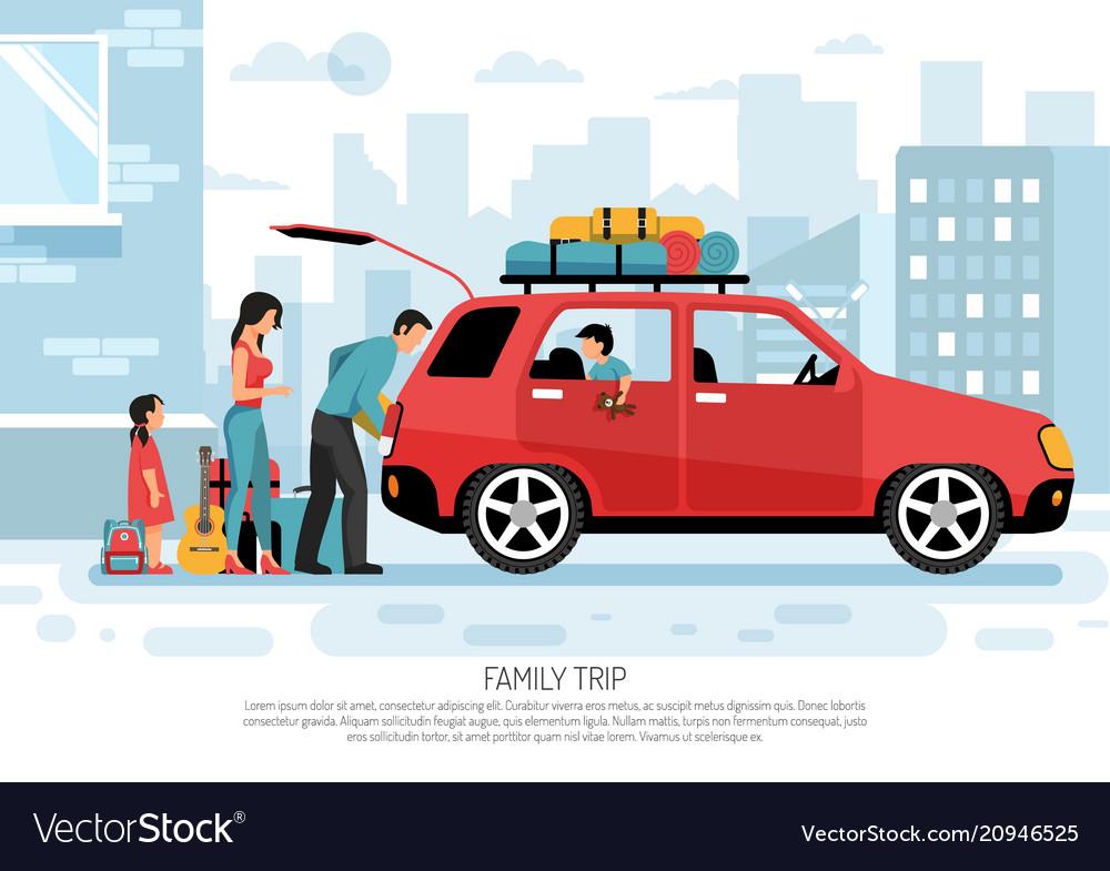 Family travel car poster