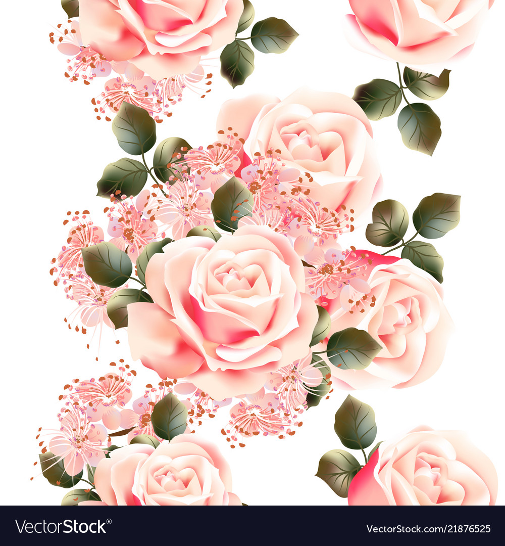 Floral Seamless Wallpaper Pattern With Roses Vector Image