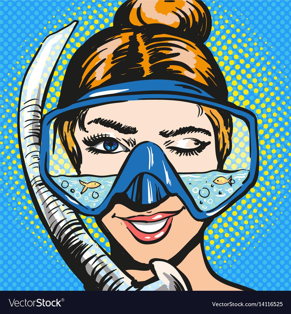 Pop art of woman in scuba