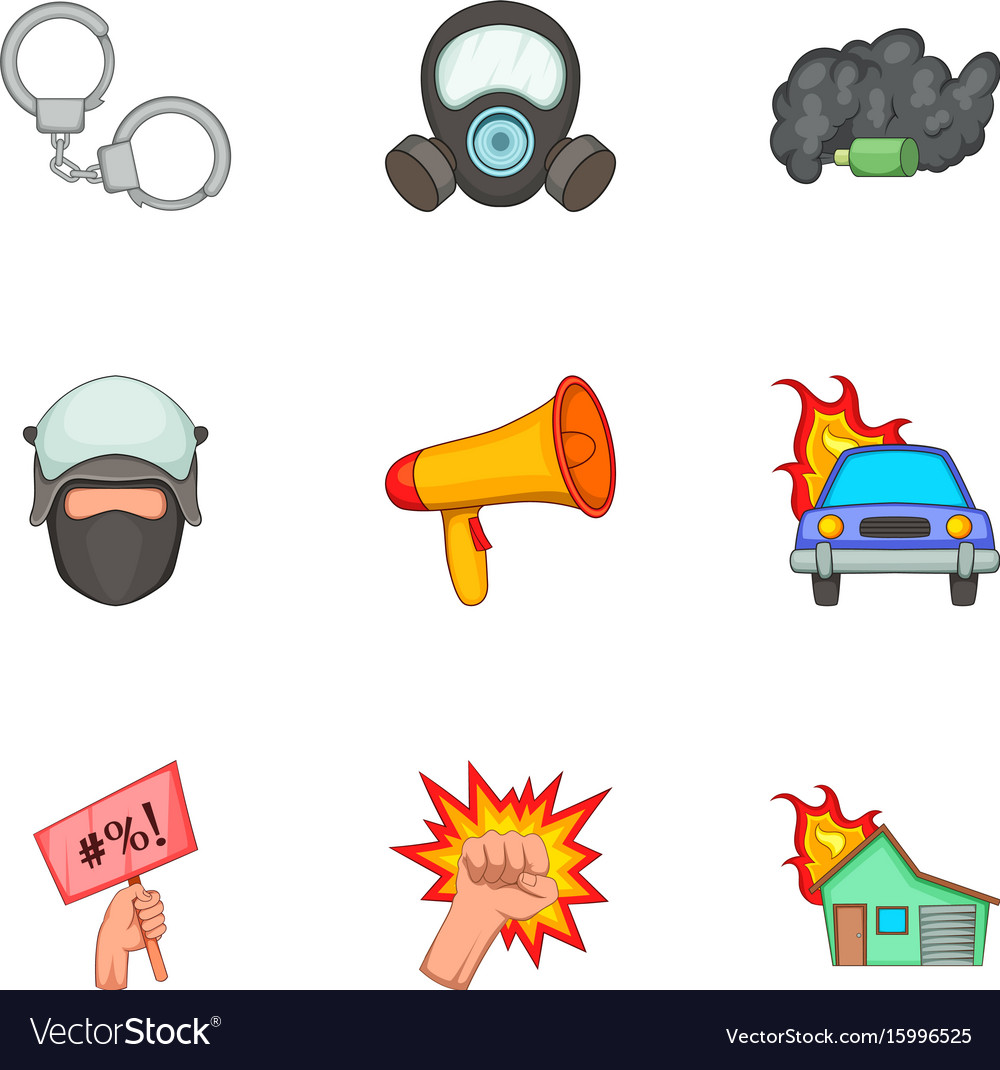 Public disorder icons set cartoon style