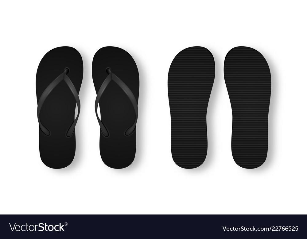 e34106359 Realistic 3d black blank empty flip flop Vector Image