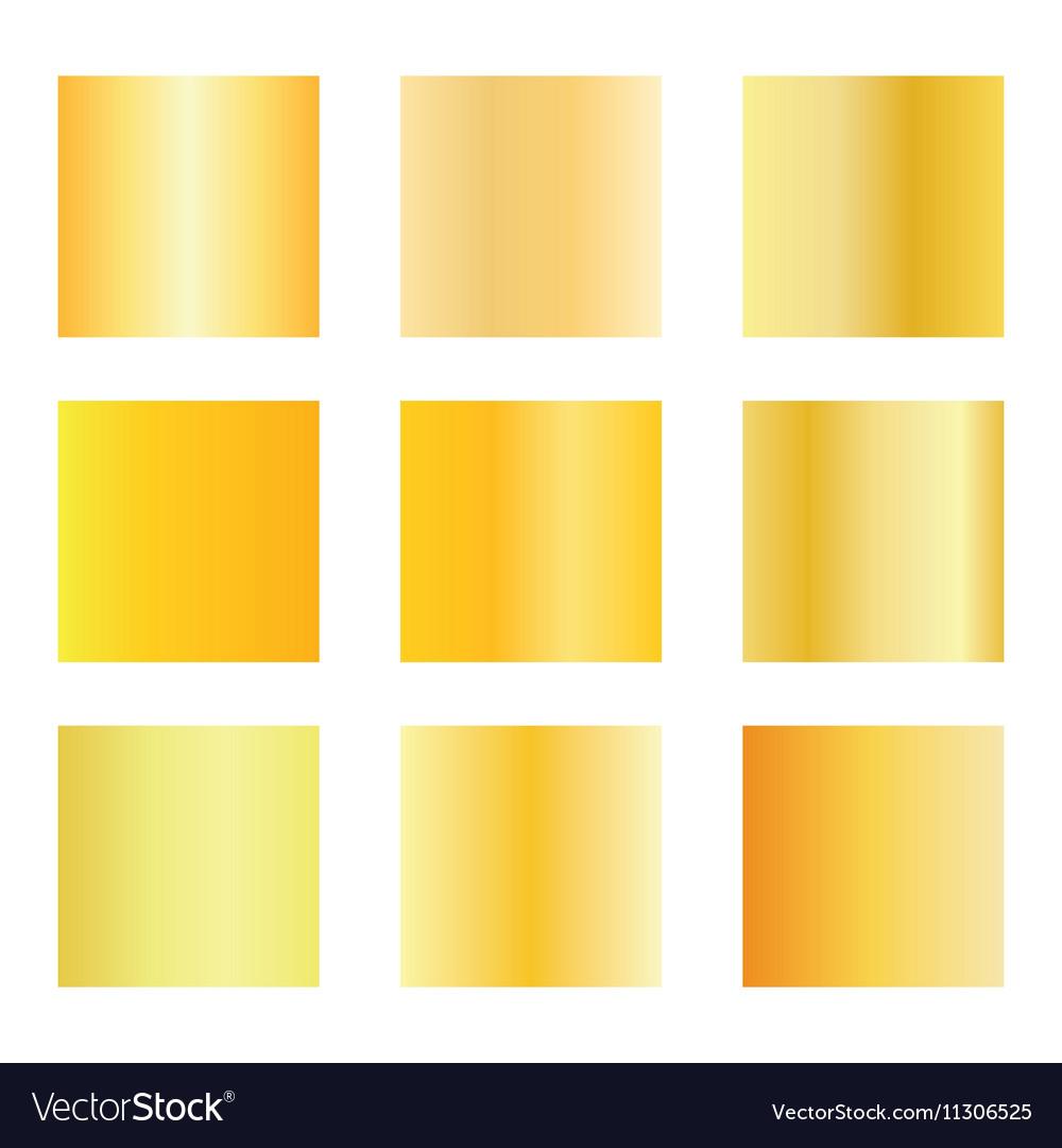 Set of gold gradients Golden backgrounds