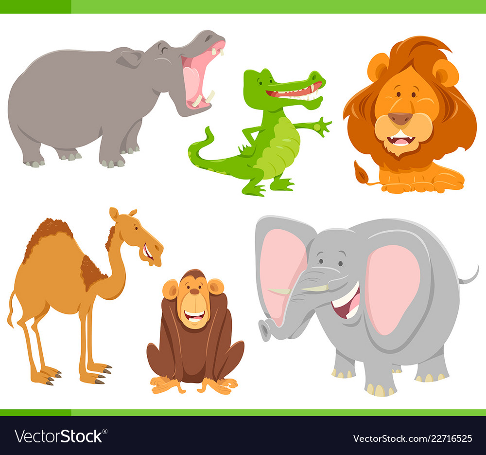 Wild animals cartoon characters collection