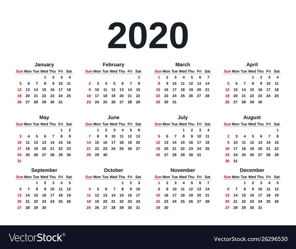 2020 Calendar Year Template Planner Royalty Free Vector