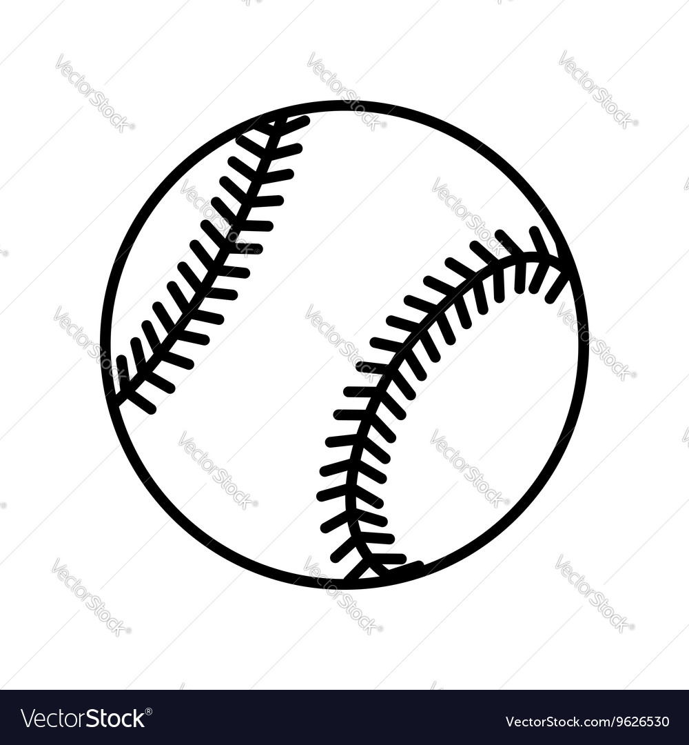 Baseball ball sign flat