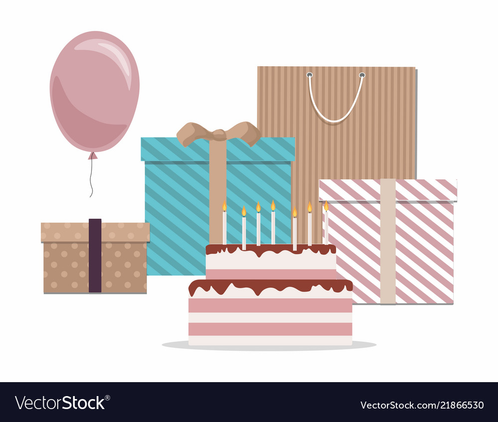Cake gifts and balloon isolated on white backgrou