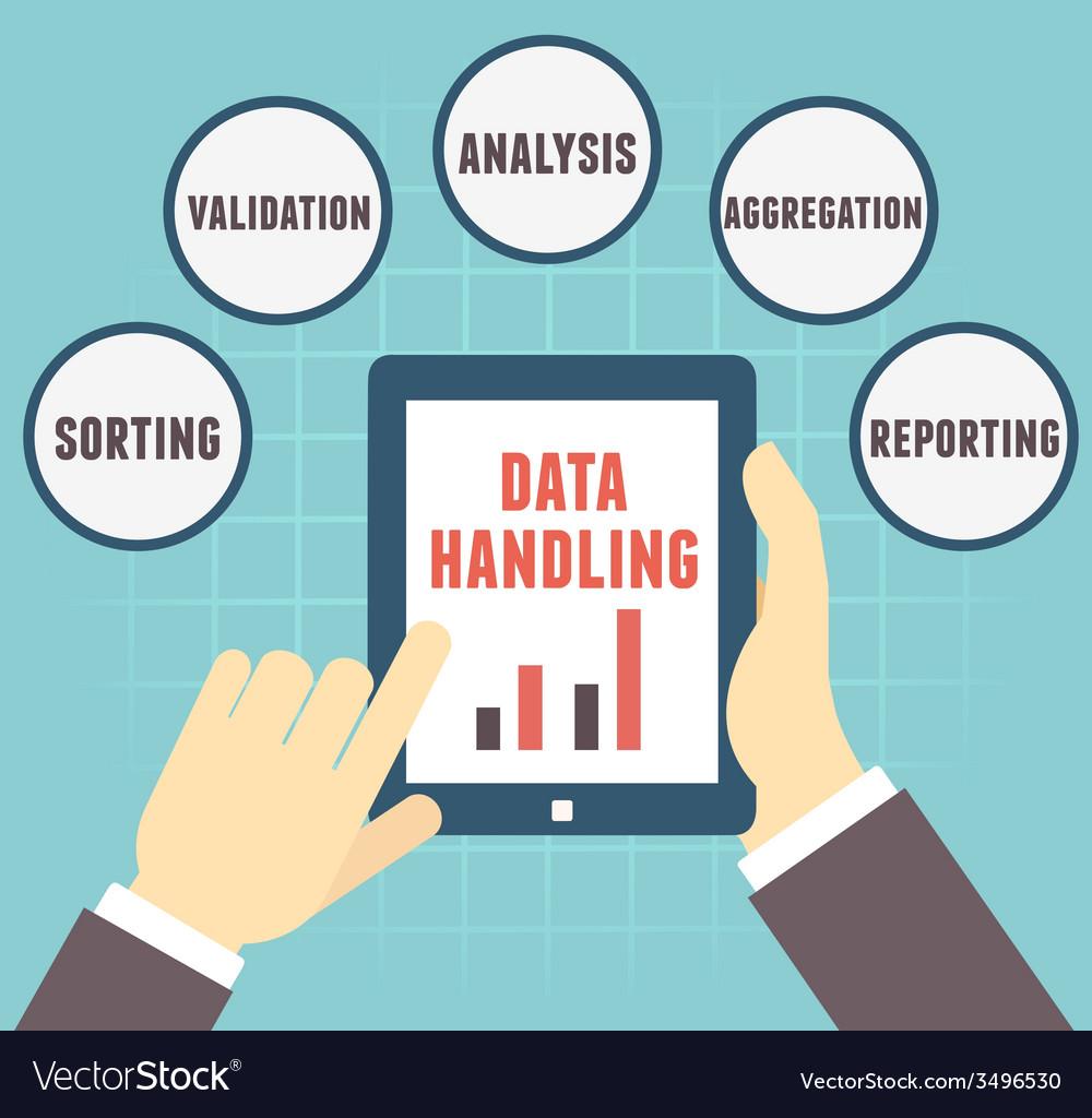 Concept of Data Handling User holding tablet pc
