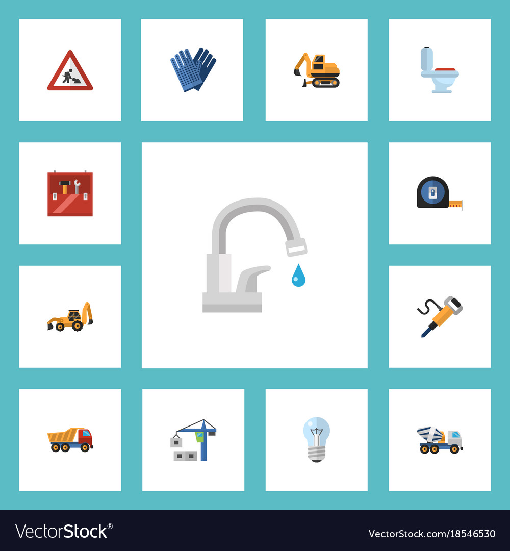 Flat icons restroom pneumatic toolkit and other