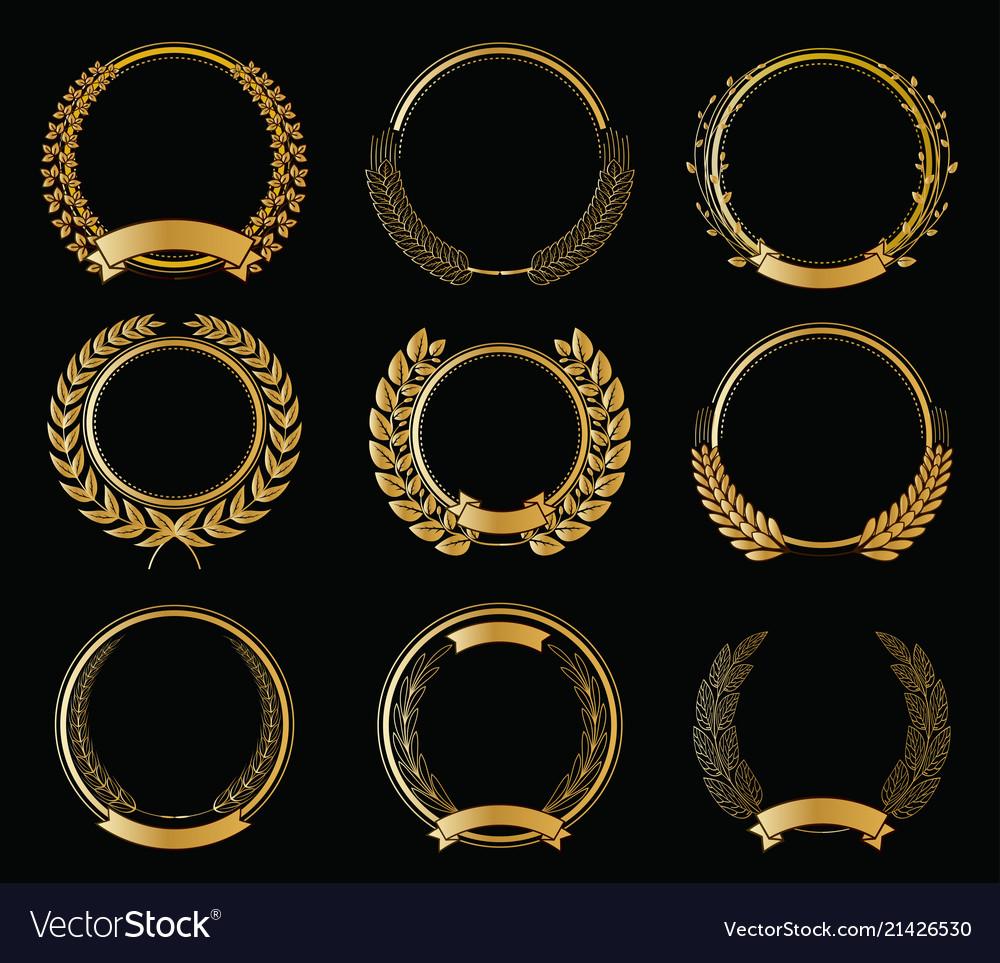 Golden laurel wreaths templates