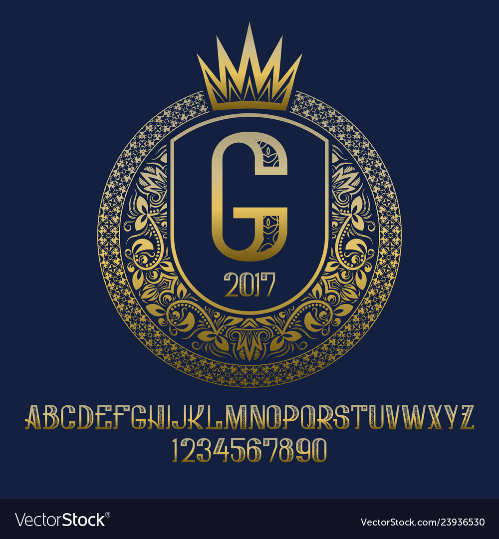 Golden patterned letters and numbers with coat of