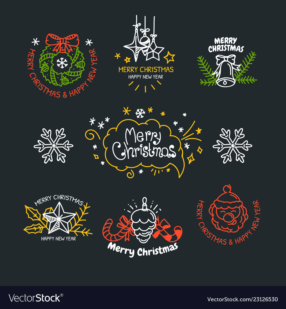 Linear design christmas greetings elements