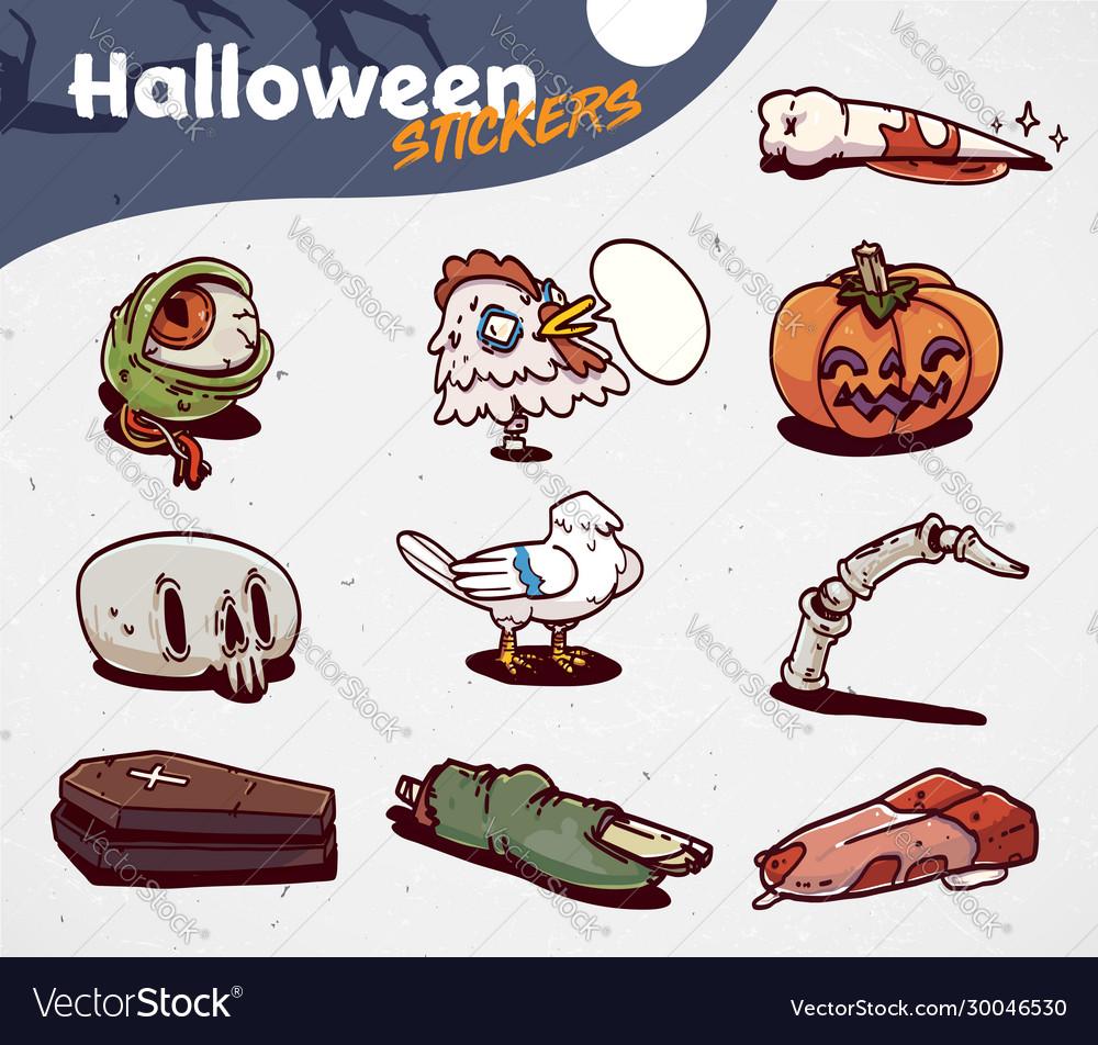 Set of cartoon halloween creepy icons stickers