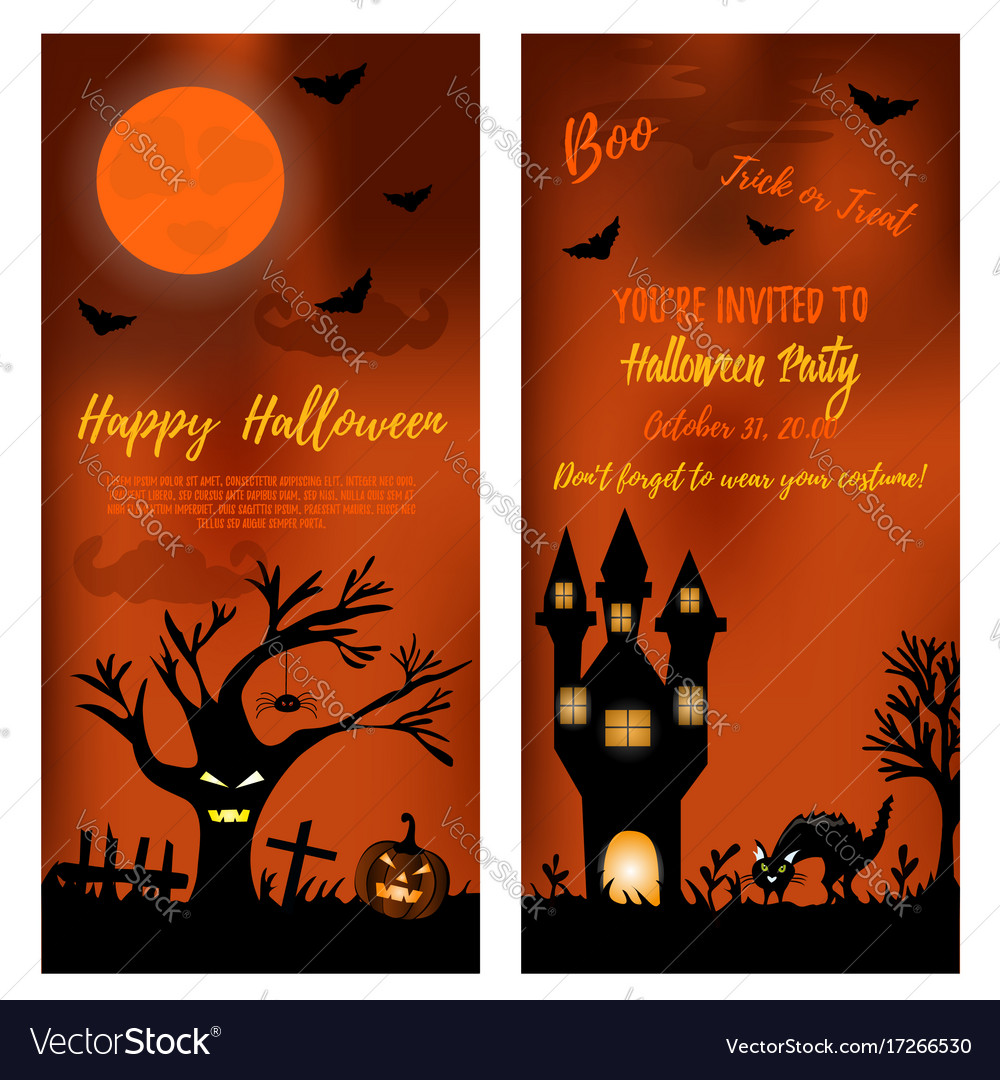 Set of halloween banners with scare tree castle vector image