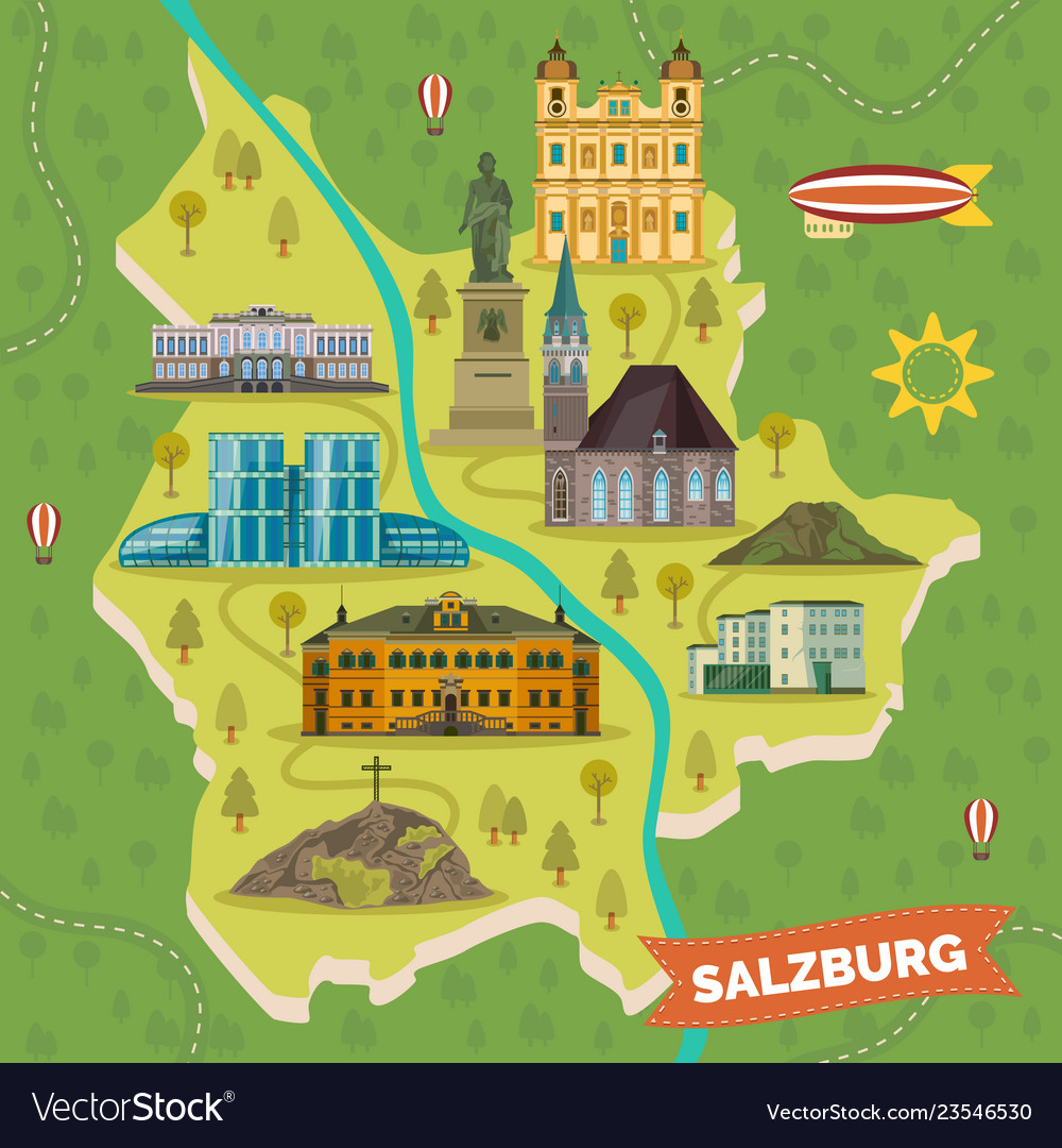 Traveling map with landmarks of salzburg on berchtesgaden map, bad gastein map, prague map, alps map, xanthi map, saalbach hinterglemm map, bruges map, heidelberg map, austria map, hamburg map, albania map, zurich map, sarajevo map, hallstatt map, innsbruck map, wan chai map, qandahar map, munich map, strasbourg map, europe map,