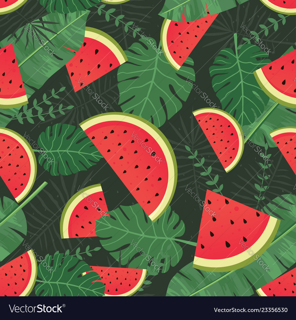Watermelon seamless pattern with tropical leaves