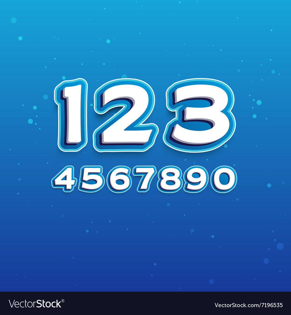 3D Font in Cartoon style with numbers