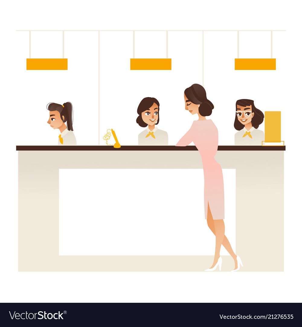 Banking service office concept girl at reception